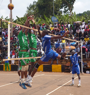 Ndejje UNiversity Volleyball Student in Ation at UCU