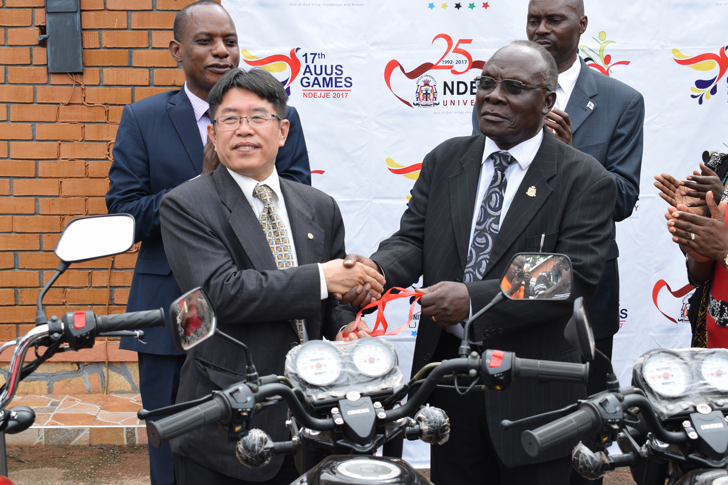 VC. Receives bikes on behalf of Ndejje International Medalists